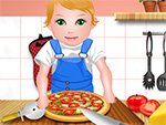 Baby-Juliet Kochen Pizza