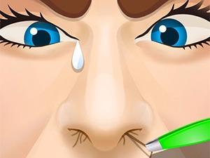 Celebrity tira del pelo de la nariz