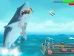 Tubarão com fome evolução em linha